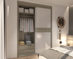 Wood Grain PVC Sliding Wardrobe azazsl05