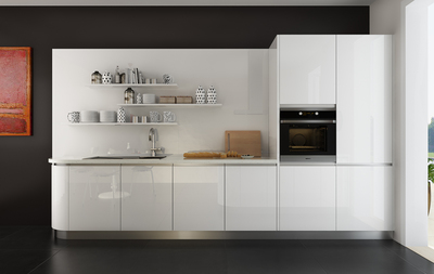 Modern Small Galley Kitchen in White Color azaz-ks05