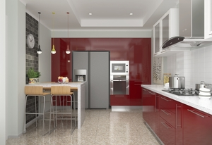 High Gloss Lacquer Kitchen Design with Multi Color Optional azaz-kl04