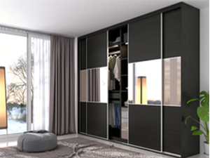 Black Laminate Sliding Wardrobe azazsl06