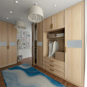 Light Wood Grain Wardrobe with Gray Glass Waist azaz sl04