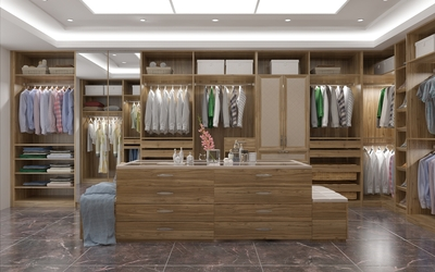 Luxury Villa Wood Grain Walk-in Closet azazw04